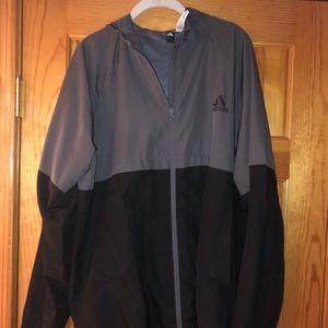 Adidas Mens XL Full Zip Windbreaker EUC
